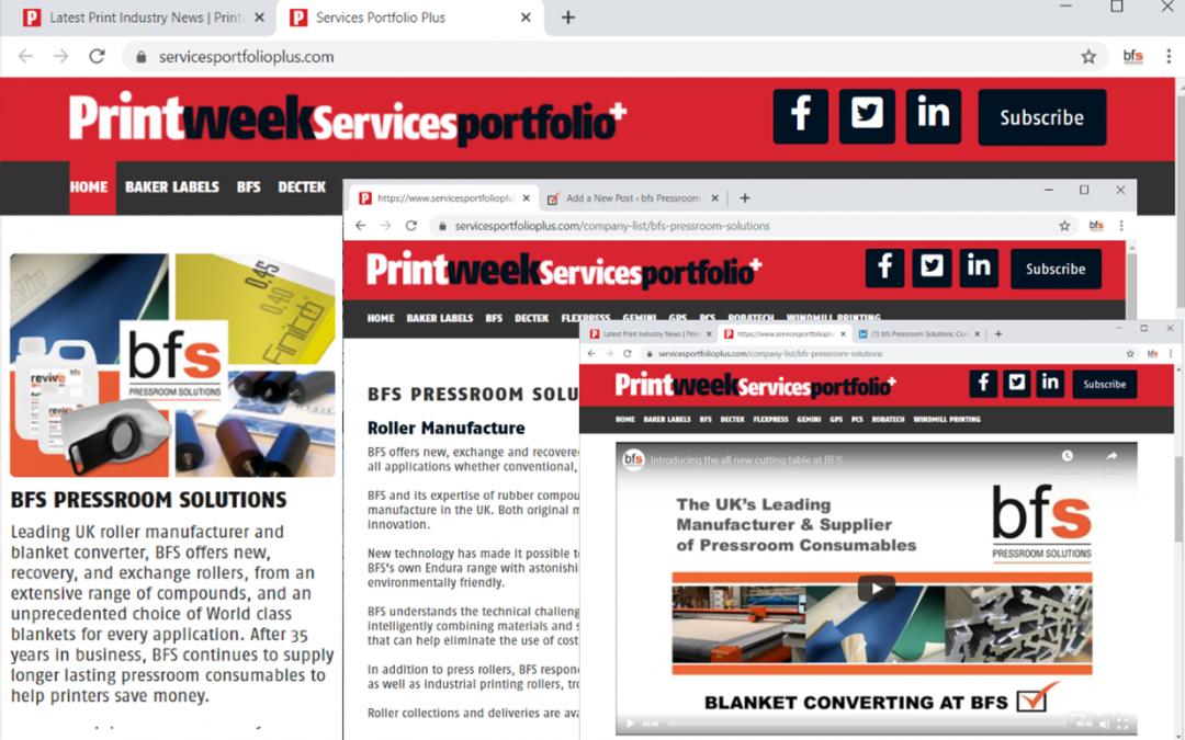 BFS features on Printweek Services Portfolio+